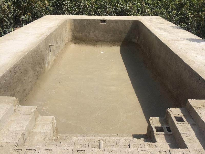 piscina rectangular 8×4 con escalera romana cuadrada.