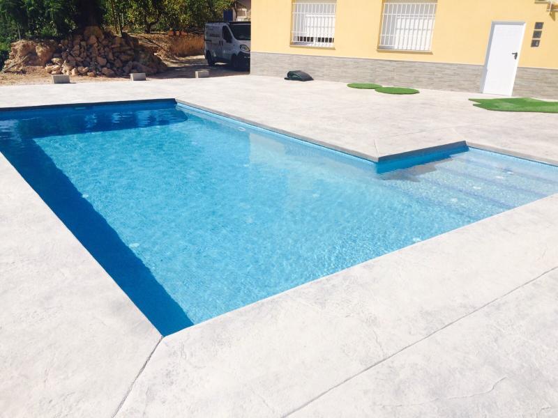 Piscina rectangular 8 4 con escalera lateral for Entrada piscina